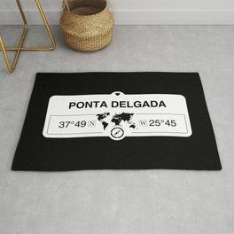 Ponta Delgada Azores with World Map GPS Coordinates Rug