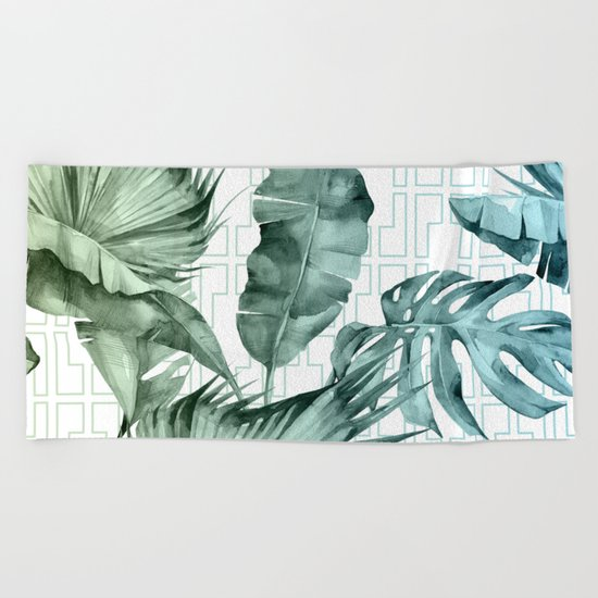 Mod Tropical Palm Leaves in Turquoise Green Blue Gradient Beach Towel