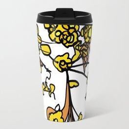 Golden Petals on Branches Travel Mug