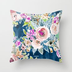 NAVY SO LUSCIOUS Colorful Watercolor Floral Print Throw Pillow