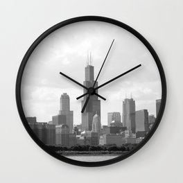 Chicago Skyline Black and White Wall Clock