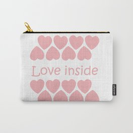 Love inside - a couple of yogis in the Lotus position meditate at  Valentine's day with hearts Carry-All Pouch
