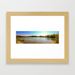 Panorama of an Ontario Forest during fall season Framed Art Print