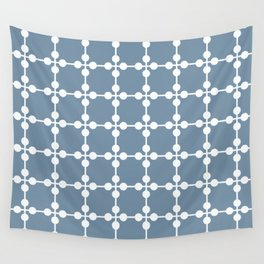 Droplets Pattern - Dusky Blue & White Wall Tapestry