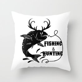 Fishing And Hunting Throw Pillow