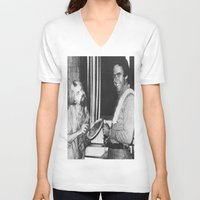 chad wys V-neck T-shirts featuring Ted Bundy, Chad the Chicken by Chad M. White