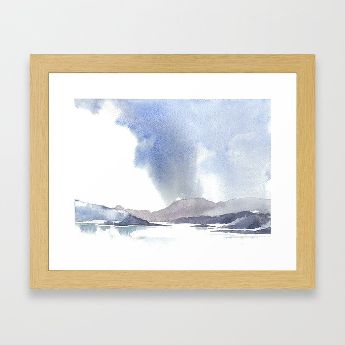 Watercolor Scotland Loch Framed Art Print