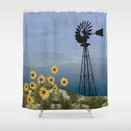 Wind Pump American Style Windmill Shower Curtain