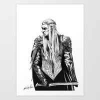 thranduil Art Prints featuring Thranduil by Lydia Joy Palmer