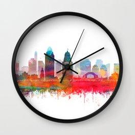 Cincinnati Skyline Watercolor by Zouzounio Art Wall Clock