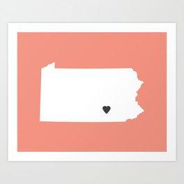 Pennsylvania Love in Peach Art Print