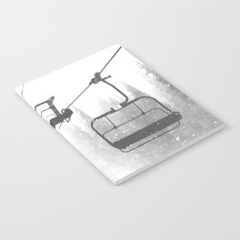 Chairlift Abyss // Black and White Chair Lift Ride to the Top Colorado Mountain Artwork Notebook