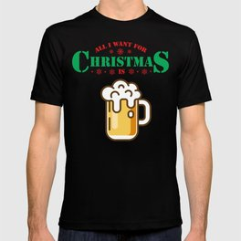 Thanksgiving Santa Gift All I Want For Christmas Is Beer Lover Xmas T-shirt