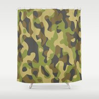 military Shower Curtains featuring Military Pattern by Crazy Thoom
