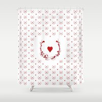 poker Shower Curtains featuring POKER HEART  by Noly Riv Mir