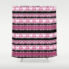 Black and pink striped pattern . Shower Curtain