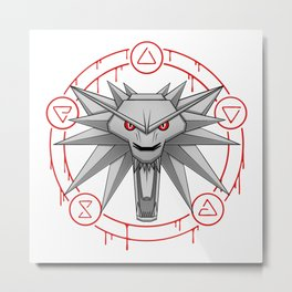 Witcher White Wolf Signs Medallion Metal Print