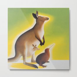 Kangaroo and Kiwi Bird Vintage Art Metal Print