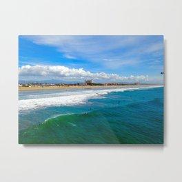 Huntington Beach Surfers Metal Print