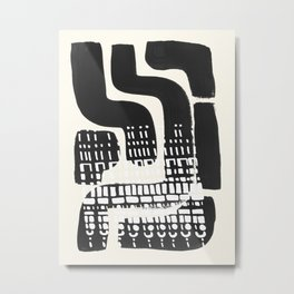 Vintage Abstract Mid Century Modern Playful Dark Black Ink Maze Pattern White Tribal Marks Metal Print