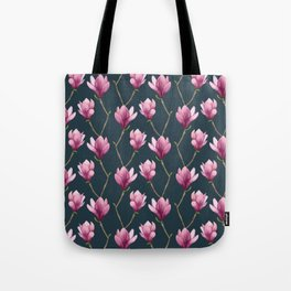 Magnolia Watercolor Floral Pattern Tote Bag