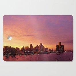 Detroit Skyline Sunset Cutting Board