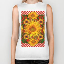 Western Red-White Golden Sunflowers Green Pattern Art Biker Tank
