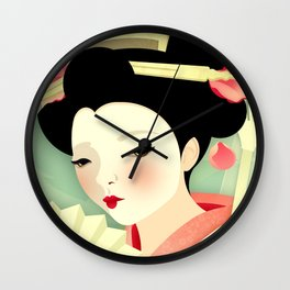 Geisha: Rose Wall Clock