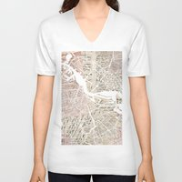 amsterdam V-neck T-shirts featuring Amsterdam by Mapsland