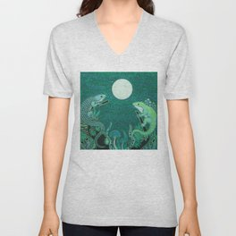 Moonlight Fey Lizards Unisex V-Neck
