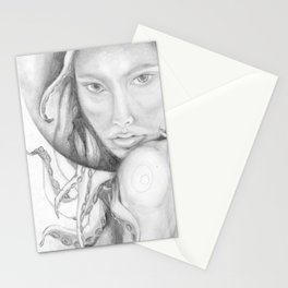 with tentacles entwined in the hair... Stationery Cards