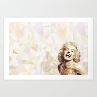 low poly Art Prints featuring Marilyn low poly by Pinkpulp