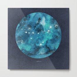 Capricorn zodiac constellation on navy blue Metal Print