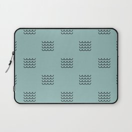Navy waves on tuquoise Laptop Sleeve