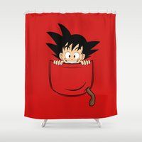 goku Shower Curtains featuring Pocket Son Goku by Unicity