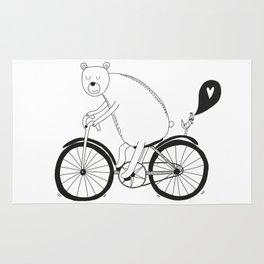 Big bear on bike Rug