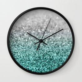 Silver Teal Ocean Glitter Glam #1 #shiny #decor #art #society6 Wall Clock