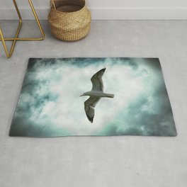 Seagull Before A Cloudy Sky Rug