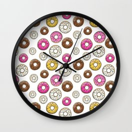 Donut Pattern - White Wall Clock