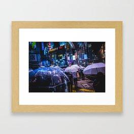 Shibuya Rainy Night Framed Art Print