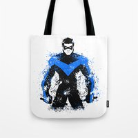 nightwing Tote Bags featuring Nightwing by fouur