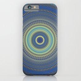 Blue Yellow Boho Mandala iPhone Case
