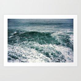 Waves.Ocean.Water Texture.35mm film.Oregon.Sea.Coast.Teal. Art Print