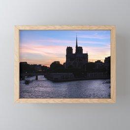 Sunset on Notre Dame de Paris Framed Mini Art Print
