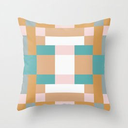 Creamy Pink Squares Throw Pillow