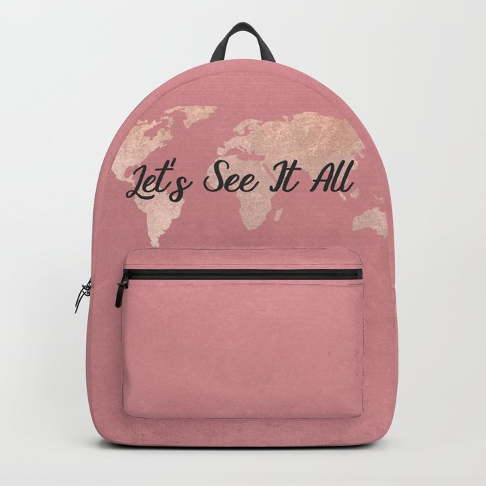 Lets see it all rosegold world map backpack by mapmaker society6 lets see it all rosegold world map backpack gumiabroncs