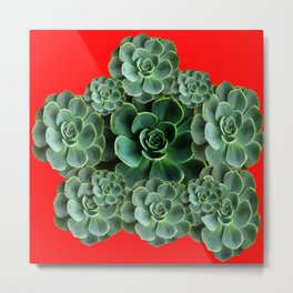 CHINESE  RED ART JADE GREEN SUCCULENTS Metal Print