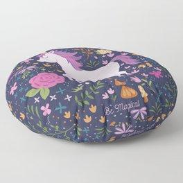 Be Magical Unicorn Pattern in a Garden Floor Pillow