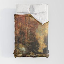 Cresheim Glen Wissahickon Autumn 1864 1 By Thomas Moran | Daytime Hike Watercolor Reproduction Comforters