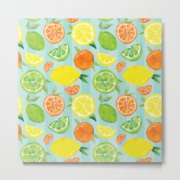 Zesty Citrus Pattern Metal Print